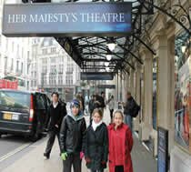 Outside Her Majestys Theartre ready to dance on stage in the west end of London