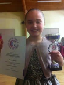 One of the many certificates awarded for dance at the presentation evening held near Colchester in Essex