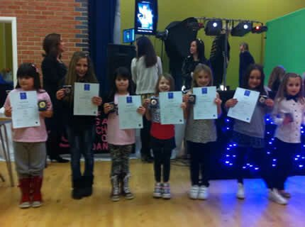 Some of our dancers line up with their certificates at the dance school presentation evening held near colchester in Essex