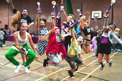 Dancers with their trophies at a dance competition in Sudbury Essex Feb 2015